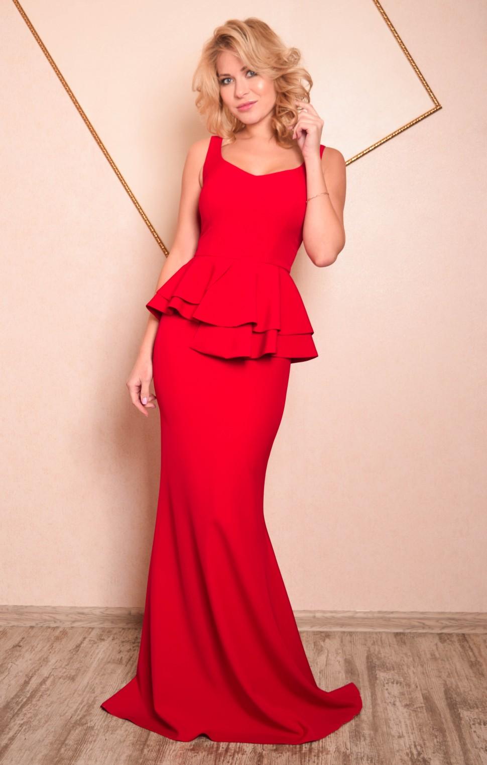 812ec12234081 Купить платье в пол с баской кристин красное в интернет магазине ...
