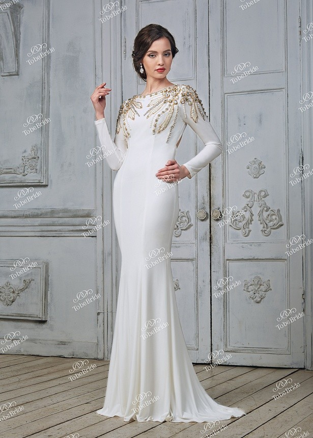 cba71e5d1073 Купить платье в пол со стразами и длинным рукавом ch008b в интернет ...